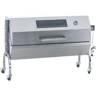 CLP Edelstahl Spanferkel-Grill MAXWELL mit Motor | Holzkohlegrill mit drei Grillrosten | mehrere Funktionen | Aufsteckfläche 130 cm | Deckel mit Temperaturanzeige - Bild 1