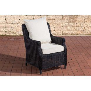 CLP Polyrattan-Sessel Montero Mit Sitzkissen I Gartenstuhl Mit Untergestell Aus Aluminium... schwarz, Cremeweiß - Bild 1