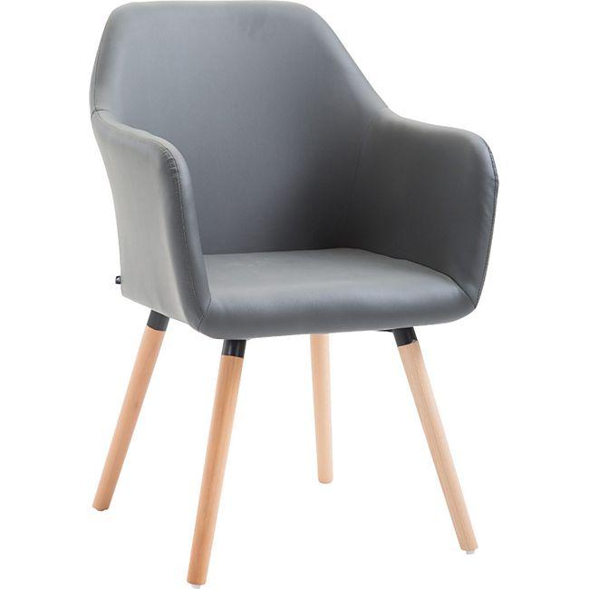 CLP Esszimmerstuhl PICARD V2 mit hochwertiger Polsterung und Kunstlederbezug I Retrostuhl mit sesselförmigem Sitz und Holzgestell... grau, Natura - Bild 1