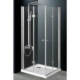 CLP Duschkabine PATTAYA aus ESG-Sicherheitsglas   Duschwand mit 2 Dreh-Falttüren   Duschabtrennung mit pflegeleichter Nano-Beschichtung   In verschiedenen Größen erhältlich - Bild 1