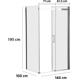 CLP Duschkabine PHUKET, Duschabtrennung, Eckduschkabine, Duschwand mit Nano-Beschichtung, 8 mm Sicherheitsglas,... 140x100x195 cm - Bild 1