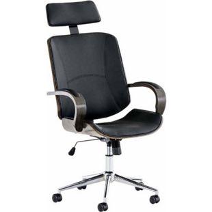 CLP Chefsessel DAYTON mit Kunstlederbezug I Bürostuhl mit Kopfstütze und Leichtlaufrollen I Höhenverstellbarer Schreibtischstuhl... schwarz/grau - Bild 1