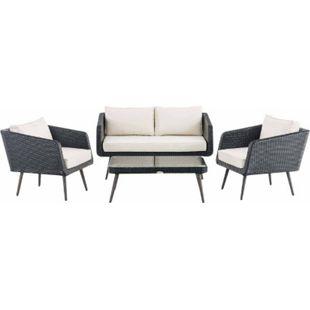 CLP Polyrattan Loungeset TROSA I Schwarz I Gartenlounge Flachrattan I Sofa & 2x Sessel & Glastisch I 1,25mm Rattandicke - Bild 1