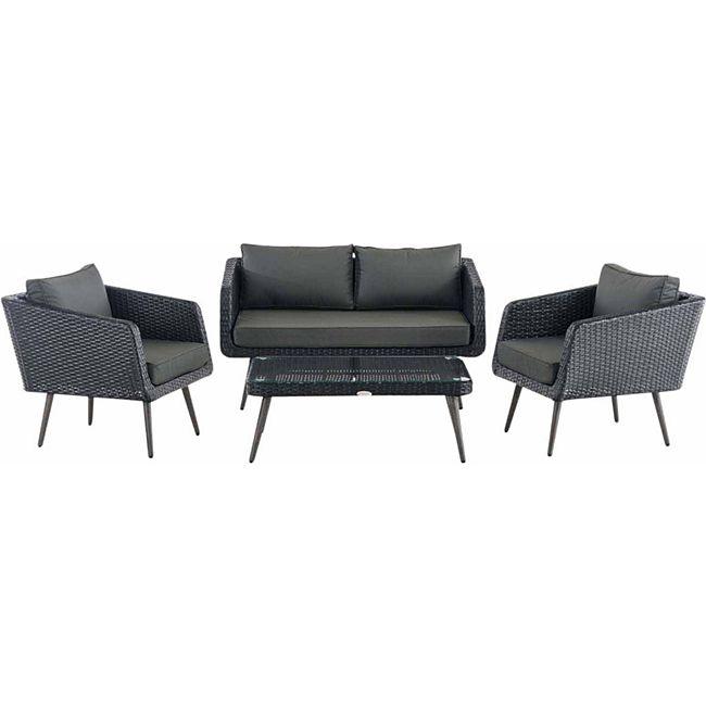CLP Polyrattan Loungeset TROSA I Schwarz I Gartenlounge Flachrattan I Sofa & 2x Sessel & Glastisch I 1,25mm Rattandicke... anthrazit, 40 cm (darkgrey) - Bild 1