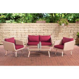 CLP Polyrattan Loungeset TROSA I Sand I Gartenlounge Flachrattan I Sofa & 2x Sessel & Glastisch I 1,25mm Rattandicke... rubinrot, 40 cm (lightbrown) - Bild 1