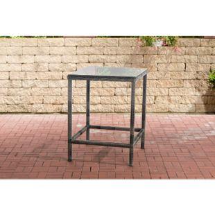 CLP Polyrattan Tisch Alia 5mm I Gartentisch Rundrattan I Bartisch Mit Glasplatte I Gartenmöbel - Bild 1