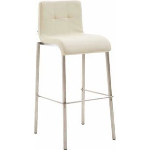 CLP Barhocker KADO mit Kunstledersitz und eckigem 4-Fußgestell I Barstuhl mit einer Sitzhöhe von: 78 cm... creme, Edelstahl - Bild 1