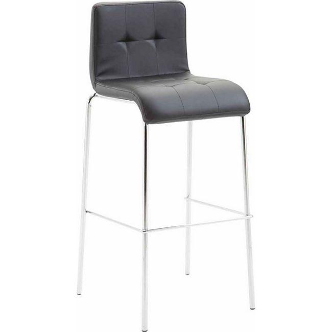 CLP Barhocker KADO mit Kunstledersitz und rundem 4-Fußgestell I Barstuhl mit einer Sitzhöhe von: 78 cm... schwarz, Chrom - Bild 1