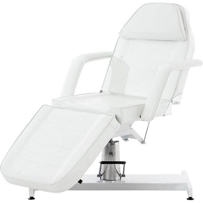 CLP Hydraulische Kosmetikliege V2 mit pflegeleichtem Kunstlederbezug I stufenlos verstellbare Massageliege I abnehmbare Armlehnen und Kopfteil... weiß - Bild 1