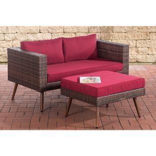 CLP Polyrattan 2er Sofa MOLDE mit Fußhocker I Braun-meliert I Loungeset I Gartensofa mit Hocker I Gartengarnitur... rubinrot, 40 cm (darkbrown) - Bild 1