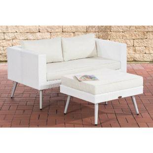 CLP Polyrattan 2er Sofa MOLDE mit Fußhocker I Weiß I Loungeset I Gartensofa mit Hocker I Gartengarnitur... cremeweiß, 40 cm (lightgrey) - Bild 1