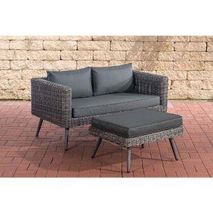 CLP Polyrattan 2er Sofa MOLDE mit Fußhocker I Grau-meliert I Loungeset Rundrattan I Gartensofa mit Hocker I 5mm Rattandicke - Bild 1