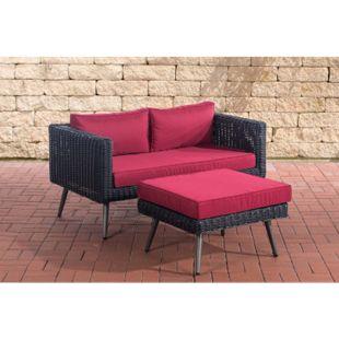 CLP Polyrattan 2er Sofa MOLDE mit Fußhocker I Schwarz I Loungeset Rundrattan I Gartensofa mit Hocker I 5mm Rattandicke... rubinrot, 40 cm (darkgrey) - Bild 1