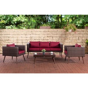 CLP Polyrattan Loungeset MOLDE 3-1-1 I Braun-meliert I Gartenlounge I Sofa + 2x Sessel + Glastisch I 1,25mm Rattandicke... rubinrot, 40 cm (darkbrown) - Bild 1