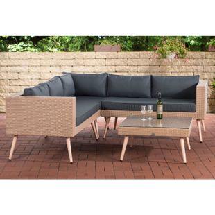 CLP Polyrattan Eck-Loungeset MOLDE I Sand I Gartenlounge I Eck-Sofa + Glastisch I 1,25mm Rattandicke... eisengrau, 45 cm (lightbrown) - Bild 1