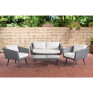 CLP Polyrattan Loungeset SKARA I Grau I Gartenlounge Flachrattan I Sofa & 2x Sessel & Glastisch I 1,25mm Rattandicke - Bild 1