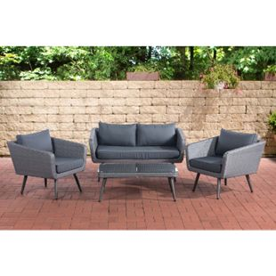 CLP Polyrattan Loungeset SKARA I Grau I Gartenlounge Flachrattan I Sofa & 2x Sessel & Glastisch I 1,25mm Rattandicke... eisengrau, 40 cm (darkgrey) - Bild 1