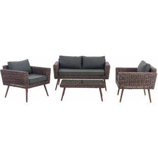 CLP Polyrattan Loungeset KIRUNA I Grau-meliert I Gartenlounge Rundrattan I Sofa & 2x Sessel & Glastisch I 5mm Rattandicke - Bild 1