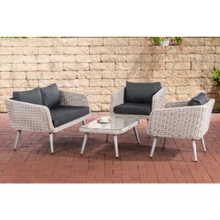 CLP Polyrattan Loungeset TROSA I Perlweiß I Gartenlounge Rundrattan I Sofa + 2x Sessel + Glastisch I 5mm Rattandicke... anthrazit, 45 cm (lightgrey) - Bild 1