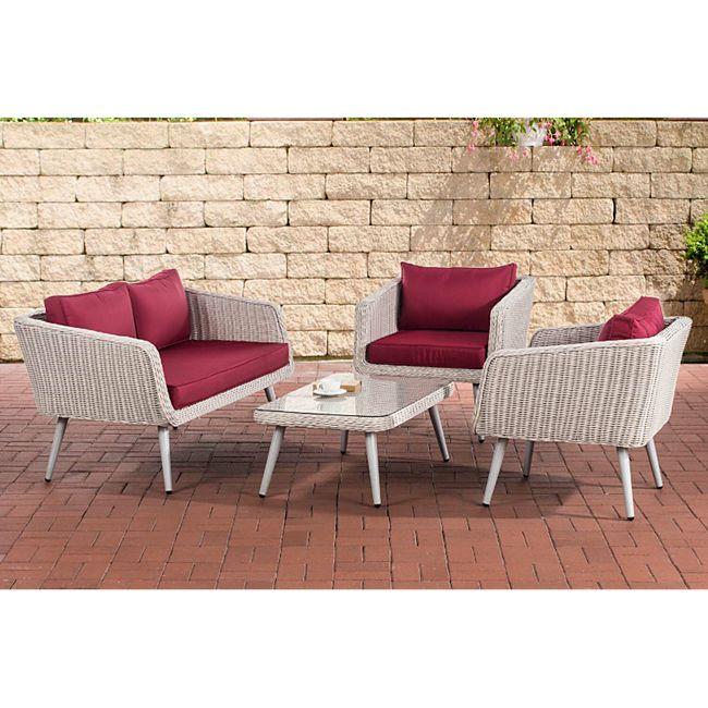CLP Polyrattan Loungeset TROSA I Perlweiß I Gartenlounge Rundrattan I Sofa + 2x Sessel + Glastisch I 5mm Rattandicke... rubinrot, 40 cm (lightgrey) - Bild 1