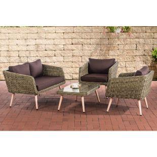 CLP Polyrattan Loungeset TROSA I Natura I Gartenlounge Rundrattan I Sofa + 2x Sessel + Glastisch I 5mm Rattandicke... terrabraun, 40 cm (lightbrown) - Bild 1