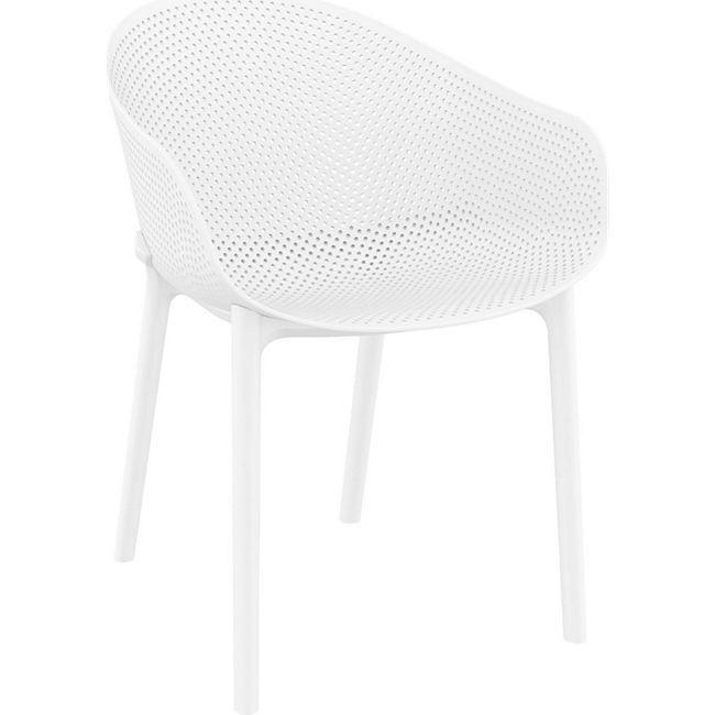 CLP Stuhl SKY I Gartenstuhl aus Kunststoff I Sitzhöhe von 45 cm I wetterfester Lehnstuhl... weiß - Bild 1