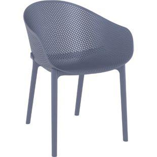 CLP Stuhl SKY I Gartenstuhl aus Kunststoff I Sitzhöhe von 45 cm I wetterfester Lehnstuhl... dunkelgrau - Bild 1