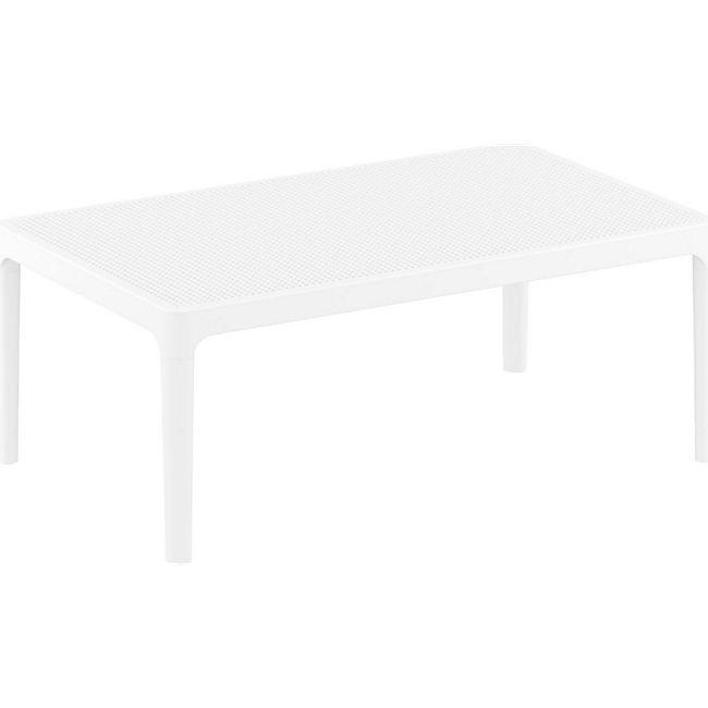 CLP Lounge Tisch SKY I Wetterfester Gartentisch aus UV-beständigem Kunststoff I witterungsbeständiger Tisch... weiß - Bild 1