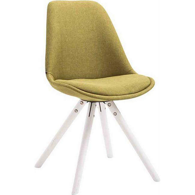 CLP Retro-Stuhl Toulouse Rund Mit Stoffbezug Und Hochwertigem Sitzpolster I Lehnstuhl Mit Stabilem Holzgestell I Sitzhöhe 48 cm... grün, Weiß - Bild 1