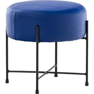CLP Sitzhocker MARSEILLE Kunstleder I Hocker mit Metallgestell I Fußhocker rund mit dicker Polsterung... blau - Bild 1