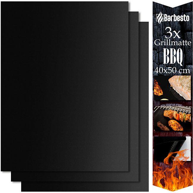 CLP BBQ Silikon Grillmatte Zum Grillen Backen Und Kochen I Grill-Matte Mit Anti-Haft Beschichtung I Grill-Folie Für Holzkohle Gasgrill Backofen... 40x50 cm (3er Set) - Bild 1