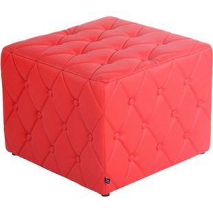 CLP Sitzhocker Nashville Mit Kunstlederbezug I Gepolsterter Sitzwürfel I Eckiger Polsterhocker I Sitzhöhe: 37 cm... rot - Bild 1