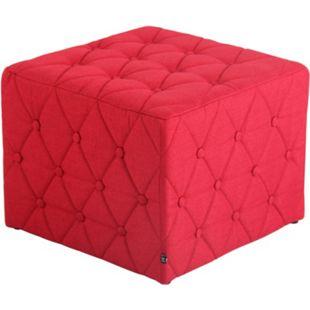CLP Sitzhocker Nashville Mit Stoffbezug I Gepolsterter Sitzwürfel I Eckiger Polsterhocker I Sitzhöhe: 37 cm... rot - Bild 1
