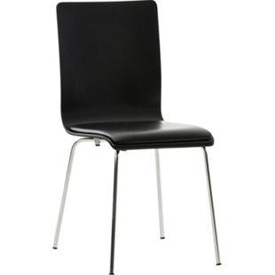 CLP Wartezimmerstuhl PEPE mit Kunstledersitz und stabilem Metallgestell I Konferenzstuhl mit ergonomisch geformter Sitzfläche... schwarz/schwarz - Bild 1