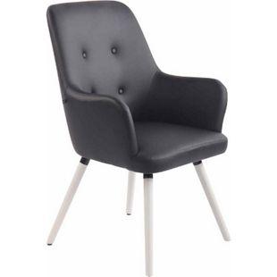 CLP Lounger AARHUS mit hochwertiger Polsterung und Kunstlederbezug I Esszimmerstuhl mit Armlehnen und Gestell aus Buchenholz... schwarz, Weiß - Bild 1