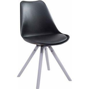 CLP Retro-Stuhl Toulouse Rund Mit Kunstlederbezug | Kunstoff-Lehnstuhl Mit Holzgestell | In Verschiedenen Farben... schwarz, Weiß - Bild 1