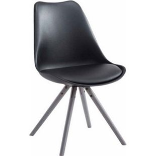 CLP Retro-Stuhl Toulouse Rund Mit Kunstlederbezug | Kunstoff-Lehnstuhl Mit Holzgestell | In Verschiedenen Farben... schwarz, Grau - Bild 1