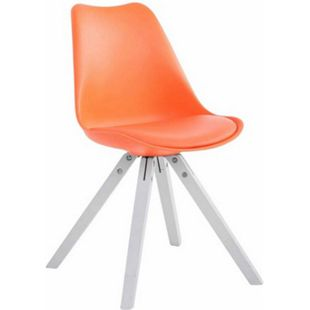 CLP Retro-Stuhl Toulouse Square Mit Kunstlederbezug | Kunstoff-Lehnstuhl Mit Holzgestell | In Verschiedenen Farben... orange, Weiß - Bild 1