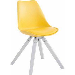 CLP Retro-Stuhl Toulouse Square Mit Kunstlederbezug | Kunstoff-Lehnstuhl Mit Holzgestell | In Verschiedenen Farben... gelb, Weiß - Bild 1
