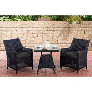 CLP Polyrattan Sitzgruppe HANA I Gartengarnitur Rundrattan I Balkon-Set: 2 Sessel und ein Esstisch... schwarz, Anthrazit - Bild 1
