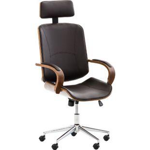 CLP Chefsessel DAYTON mit Kunstlederbezug I Bürostuhl mit Kopfstütze und Leichtlaufrollen I Höhenverstellbarer Schreibtischstuhl... walnuss/braun - Bild 1
