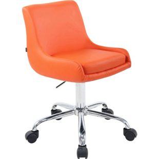 CLP Arbeitshocker CLUB mit hochwertiger Polsterung und Kunstlederbezug I Schreibtischstuhl mit Leichtlaufrollen I Höhenverstellbarer Drehstuhl... orange - Bild 1