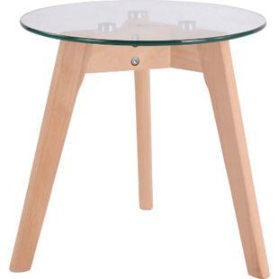 CLP Glastisch Motala I Telefontisch Mit Glas Tischplatte I Couchtisch Mit Buchenholzgestell... klarglas, 40 cm - Bild 1