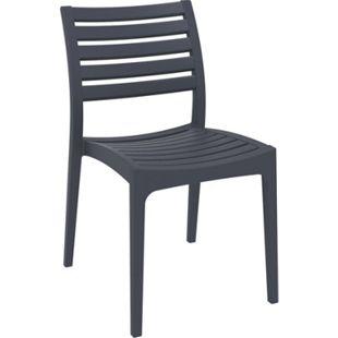 Gartenstuhl ARES aus Kunststoff l Küchenstuhl belastbar bis 160 kg l Wasserabweisender, UV-beständiger Stapelstuhl... dunkelgrau - Bild 1
