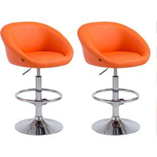 CLP 2er Set Barhocker Miami V2 Mit Kunstlederbezug I Höhenverstellbarer Barstuhl Mit Rückenlehne... orange - Bild 1