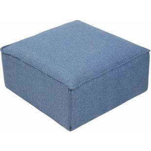 CLP Sitzhocker Nantes I Samt I Stoff I Gepolsterter Sitzwürfel I Eckiger Polsterhocker I Sitzhöhe: 30 cm... blau, Stoff - Bild 1