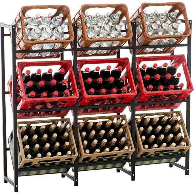 CLP 9er Getränkekistenständer Lennert I Platzsparender Robuster Halter Für Getränkekisten I Flaschenregal Für 9x Kisten - Bild 1