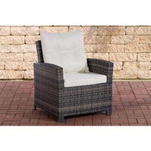 CLP Polyrattan-Sessel Fisolo Mit Sitzkissen I Gartenstuhl Mit Untergestell Aus Aluminium... grau-meliert, Cremeweiß - Bild 1