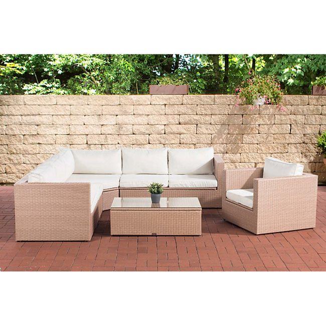 CLP Polyrattan Gartengarnitur Tibera Mit Stauraum I Gartenlounge-Set Mit 6 Sitzplätzen I Verschiedene Farben - Bild 1