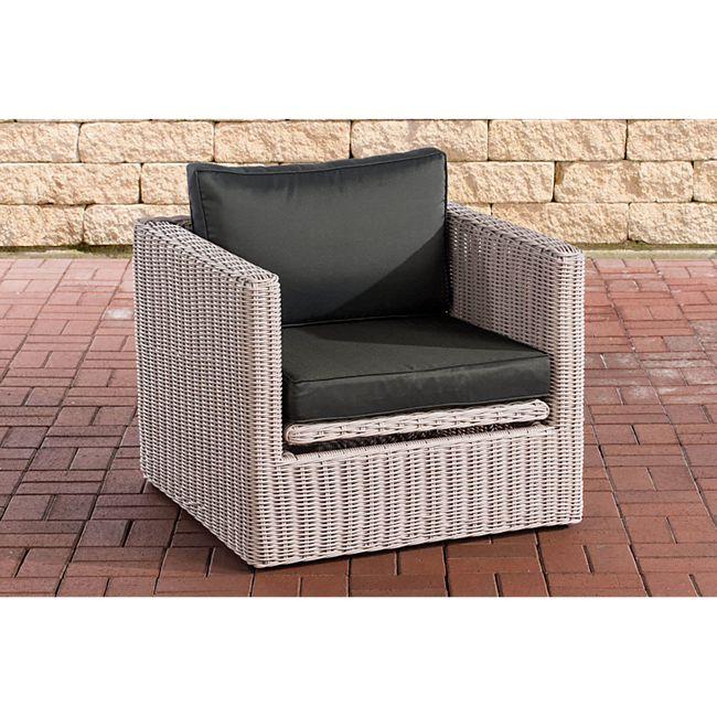 CLP Polyrattan Sessel Tibera 5mm I Gartensessel Aus Rundrattan I Loungesessel Mit Aluminiumgestell Inkl. Kissen - Bild 1